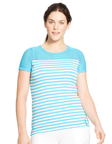Lauren Ralph Lauren Plus Striped Mesh Yoke Top-BLUE-2X 87535317_BLUE_2X