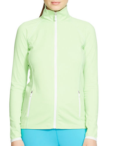 Lauren Ralph Lauren Mockneck Track Jacket-GREEN-Medium