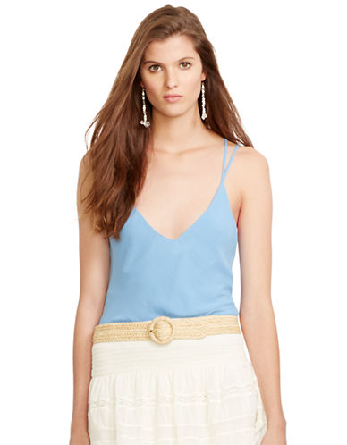 Polo Ralph Lauren V Neck Crepe Tank-BLUE-X-Large