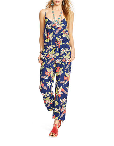 Polo Ralph Lauren Floral Print V Neck Jumpsuit-BLUE-Medium