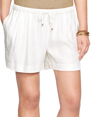 Lauren Ralph Lauren Linen Drawstring Short-WHITE-Small