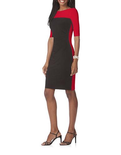 Chaps Colourblocked Sheath Dress-BLACK-X-Large