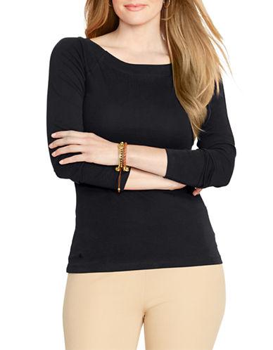 Lauren Ralph Lauren Plus Cotton Ballet Neck Shirt-BLACK-2X 87699959_BLACK_2X