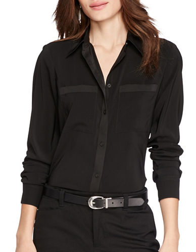 Lauren Ralph Lauren Stretch Satin Shirt-BLACK-Large