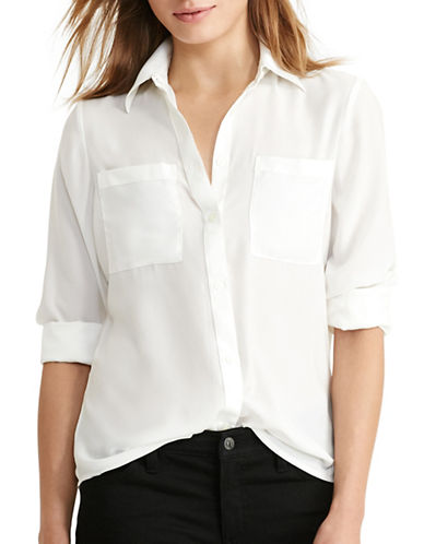 Lauren Ralph Lauren Satin Long-Sleeved Shirt-WHITE-Large