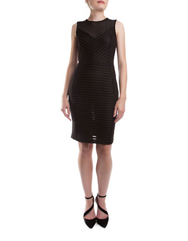 French Connection Score Stripe Sheath Dress-BLACK-4