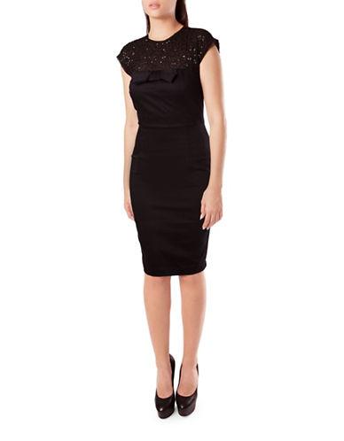 French Connection Hetti Jewel Cap Sleeve Dress-BLACK-12