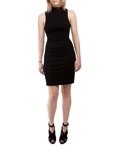 French Connection High Line Lula Sheath Dress-BLACK-10