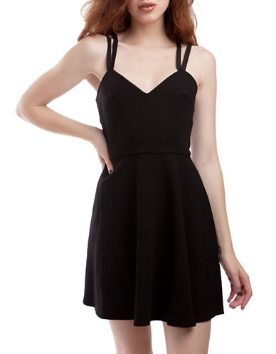French Connection Whisper Fit-And Flare Dress-BLACK-4