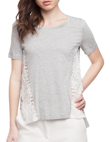 French Connection Hooper Lace T-Shirt-GREY-X-Small 88977486_GREY_X-Small
