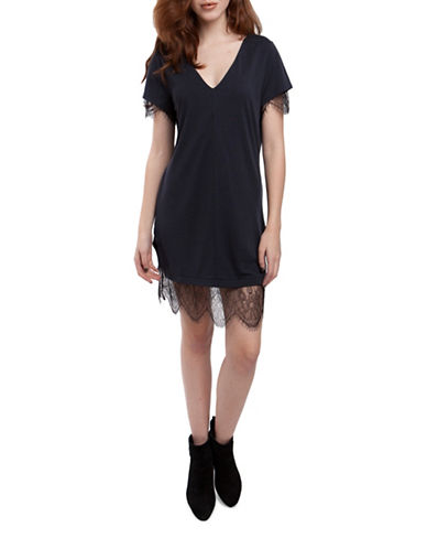 French Connection Swift Lace Trim T-Shirt Dress-BLUE-0