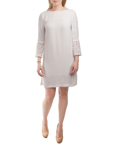 French Connection Ensor Crepe Shift Dress-WHITE-6