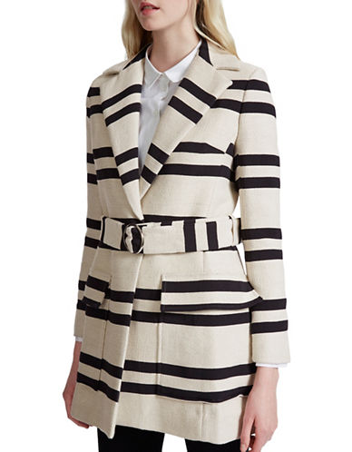 French Connection Escher Stripe Coat-NATURAL-0