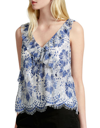 French Connection Antonia Lace Blouse-BLUE-4