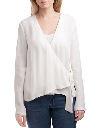 French Connection Ducham Drape Blouse-WHITE-8