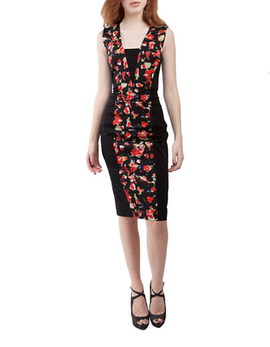 French Connection Bella Abstract Sheath Dress-BLACK-2