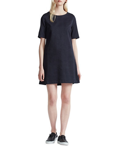 French Connection Animal Jacquard Shift Dress-BLACK-2