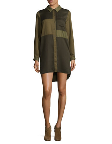 French Connection Long Sleeve Tencel Shirt Dress-GREEN-6