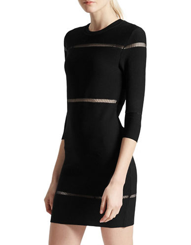French Connection Danni Ladder Trim Bodycon Dress-BLACK-10