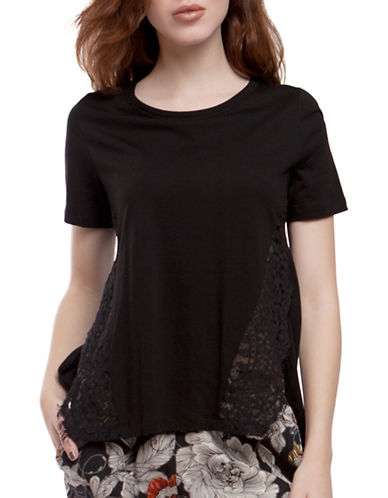 French Connection Hooper Lace T-Shirt-BLACK-Small