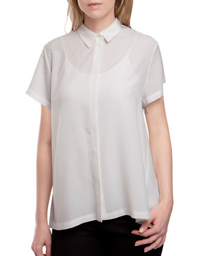 French Connection Pleated Back Blouse-NATURAL-Small