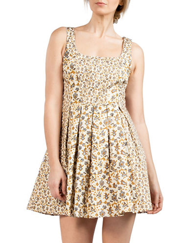 French Connection Niko Floral Flared Dress-WHITE MULTI-6