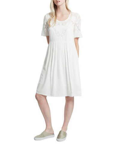 French Connection Shannon Stitch Flared Dress-WHITE-Medium