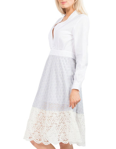French Connection Oni Lace Flared Dress-WHITE MULTI-4