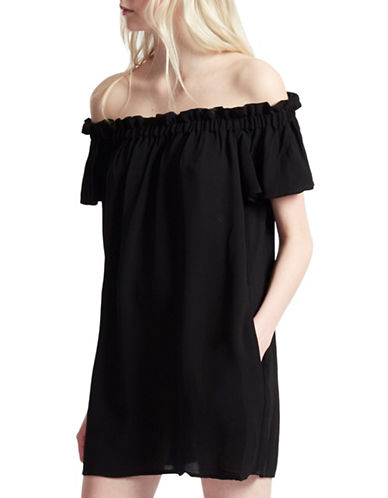 French Connection Dew Ruffle Off-the-Shoulder Dress-BLACK-6