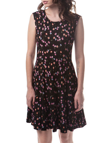 French Connection Botero Ponte Flared Dress-MULTI-10