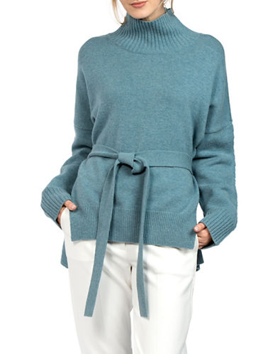 French Connection Wool Self-Tie Accent Sweater-BLUE-Large