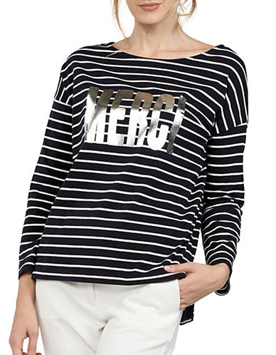 French Connection Graphic Print Striped Tee-BLUE-Large