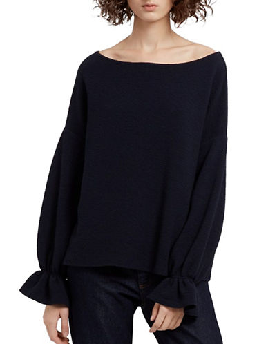 French Connection Ruffled Oversized Top-BLUE-Small