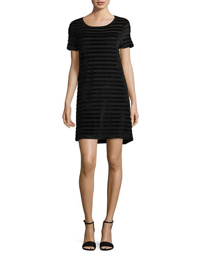 French Connection Striped Velvet Dress-BLACK-Small