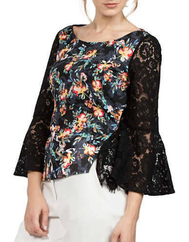 French Connection Lace Accent Floral Top-BLACK MULTI-Large