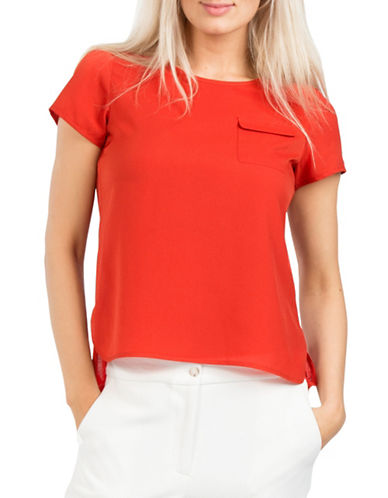 French Connection Keyhole Back Tee-RED-Small