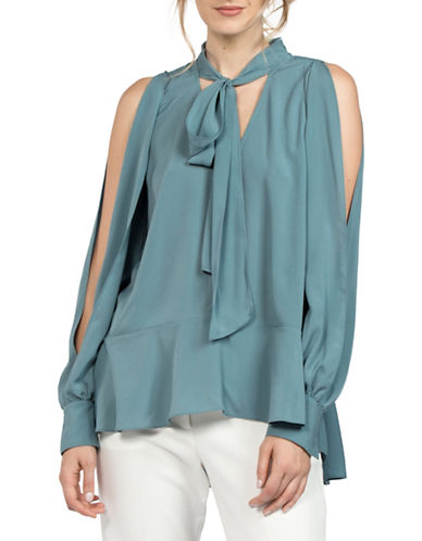French Connection Tie-Front Blouse-BLUE-Small