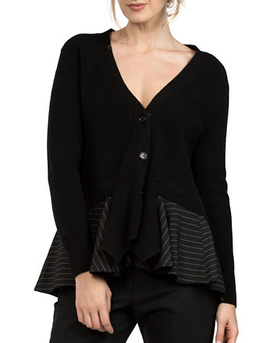 French Connection Flared Stripe Accent Cardigan-BLACK-Small