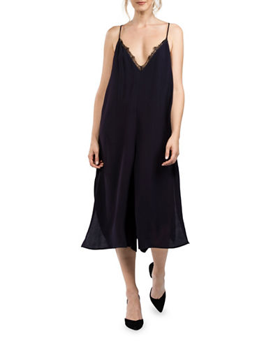 French Connection V-Neck T-Back Jumpsuit-BLUE-10
