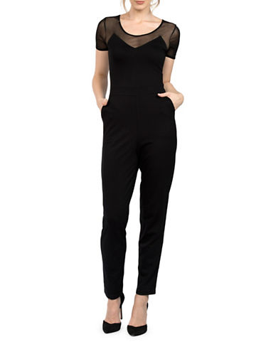 French Connection Francis Short Sleeve Jumpsuit-BLACK-2