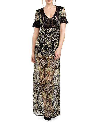 French Connection Floral Lace Maxi Dress-GREEN-10