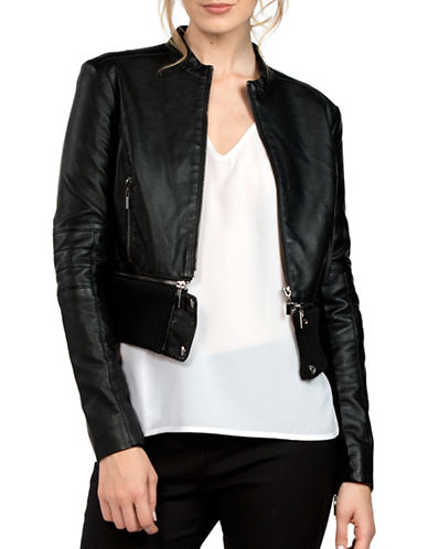 French Connection Sandra Cropped Biker Jacket-BLACK-8