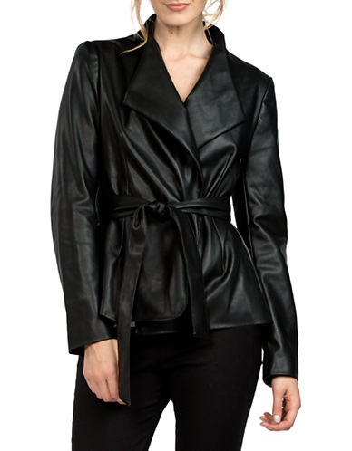 French Connection Margarette Wrap Jacket-BLACK-2