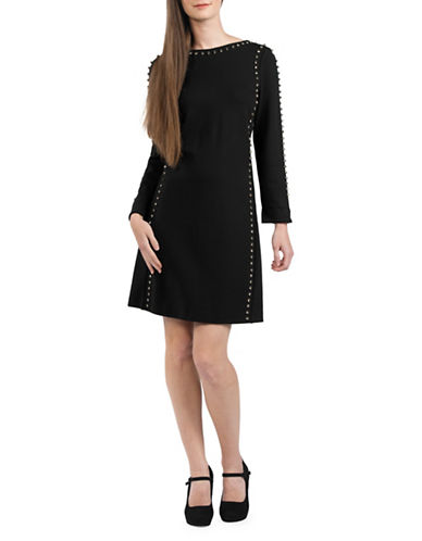 French Connection Lula Rhinestone Shift Dress-BLACK-0