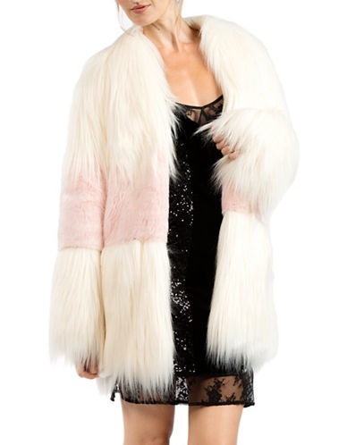 French Connection Faux Fur Open Front Coat-NATURAL-Large