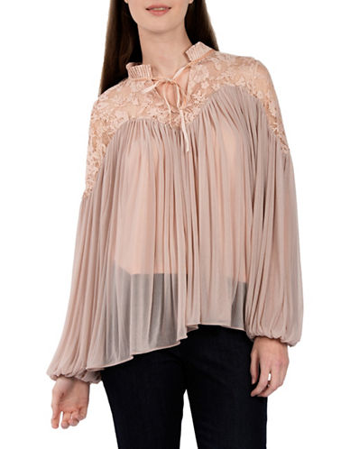 French Connection Lassia Pleated Blouse-PINK-Large
