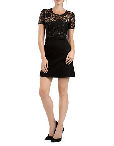 French Connection Clementin Sequined Fit-And-Flare Dress-BLACK-4