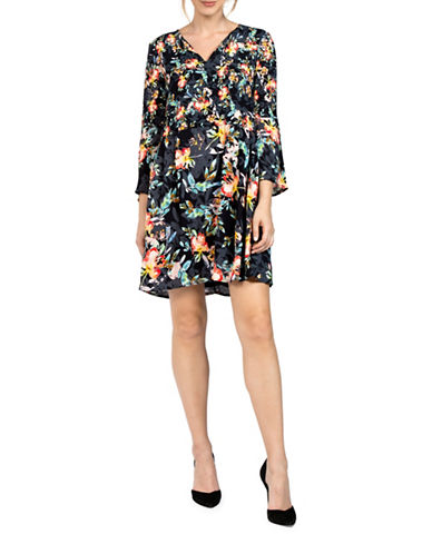 French Connection Delphine Crepe Dress-BLACK MULTI-2