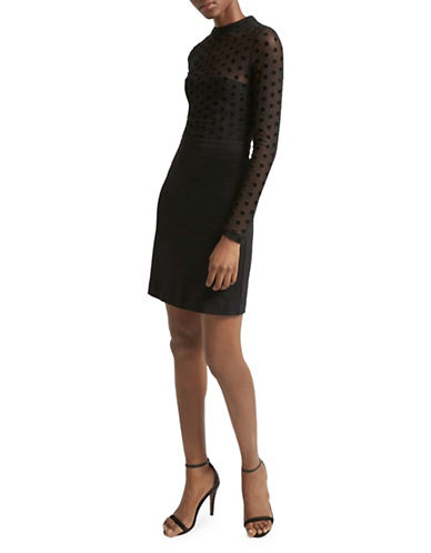 French Connection Lea Jersey Fit-and-Flare Dress-BLACK-0