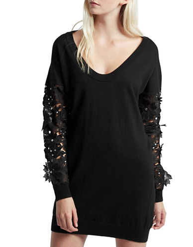 French Connection Mazion Cutout Sweater Dress-BLACK-Small